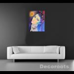 tableau art contemporain visage femme rose violet bleu