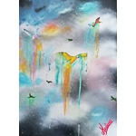 tableau art design contemporain nature femme oiseau colibri 4