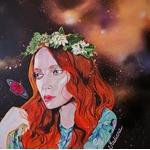 tableau art peintre acrylique aérosol femme espace effet papillon 2