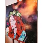 tableau art peintre acrylique aérosol femme espace effet papillon 3