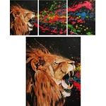 tableau triptyque listen me lion rugissement multicolore 7