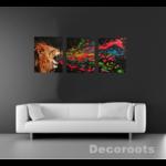 tableau triptyque listen me lion rugissement multicolore art