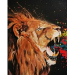 tableau triptyque listen me lion rugissement multicolore