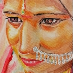 dessin artiste indienne multicolore fusain pastel aquarelle zoom