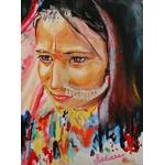 dessin artiste indienne multicolore fusain pastel aquarelle