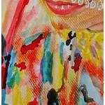 dessin artiste indienne multicolore fusain pastel aquarelle zoom 2