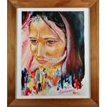 dessin artiste indienne multicolore fusain pastel aquarelle cadre