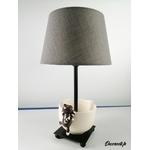 lampe de chevet design chat tasse beige taupe 2