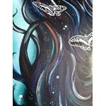 tableau art contemporain femme espace papillon