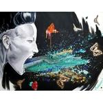 tableau art contemporain femme visage cri tache peinture multicolore