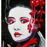 dessin femme geisha carpe koï street art fusain visage