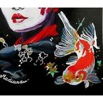 dessin femme geisha carpe koï street art fusain visage poisson
