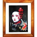 dessin femme geisha carpe koï street art fusain visage cadre