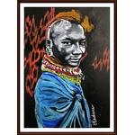 dessin art guerrier massaï ethnique afrique cadre décoration