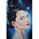 tableau art contemporain artiste femme portrait cosmos espace