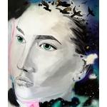 tableau art contemporain portrait street art noir et blanc multicolore oiseau liberté visage