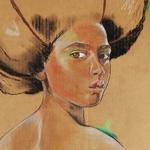 Dessin art femme africaine afrique nue pop visage coupe afro
