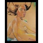 Dessin art femme africaine afrique nue pop visage coupe afro cadre noir