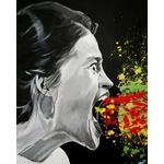 tableau art contemporain visage  cri noir et blanc multicolore