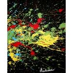 tableau art contemporain visage noir et blanc multicolore cri