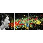 tableau triptyque art contemporain visage  cri noir et blanc multicolore