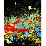 tableau art contemporain visage  cri noir et blanc multicolore 2