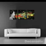tableau triptyque art contemporain visage  cri noir et blanc multicolore 3