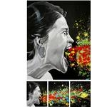 tableau triptyque art contemporain visage  cri noir et blanc multicolore 2