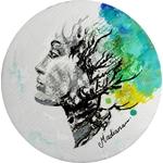 impression art contemporain femme noir et blanc multicolore ethnique 2