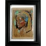 impression art contemporain femme noir et blanc multicolore ethnique 7