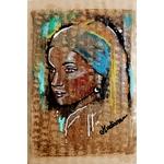 impression art contemporain femme noir et blanc multicolore ethnique 77
