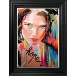 dessin art contemporain carton hope visage portrait femme multicolore cadre décoration