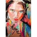 affiche art contemporain carton hope visage portrait femme multicolore