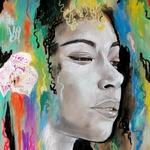 dessin art contemporain artiste noir et blanc multicolore femme portrait décoration