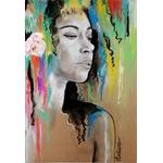 dessin art contemporain artiste noir et blanc multicolore femme portrait