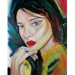 tableau art contemporain portrait femme multicolore home sweet home 2