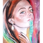 dessin art contemporain portrait femme multicolore boomerang décoration