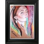 dessin art contemporain portrait femme multicolore boomerang décoration cadre
