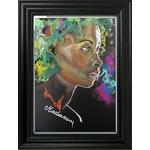 dessin art contemporain femme noire multicolore cadre