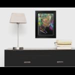 dessin art contemporain femme noire multicolore cadre décoration