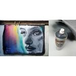 graffiti street art visage portrait noir et lanc multicolore