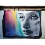 street art graffiti visage portrait noir et lanc multicolore
