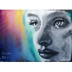 tableau art contemporain street art graffiti visage portrait noir et lanc multicolore
