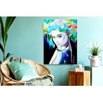 tableau art contemporain 2020 décoration artiste mésange oiseau multicolore