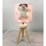 lampe-chevet-enfant-bebe-ours-fille-beige-rose-vieux-blanc-cadeau-naissance-artisanale 7