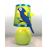 Lampe chevet enfant bébé jungle vert anis bleu turquoise perroquet safari