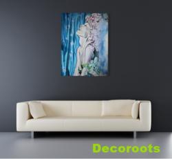 tableau-art-contemporain-femme-eau-mer-fleur-nature