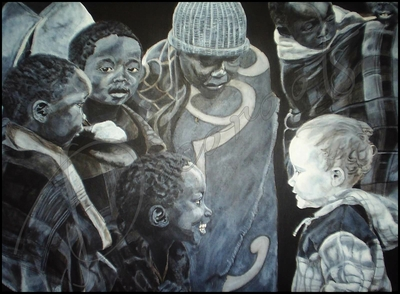 tableau ethnique noir et blanc