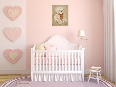 tableau enfant bébé ours en peluche nounours beige marron taupe mixte garçon fille  collection jouet d'antan décoration fille