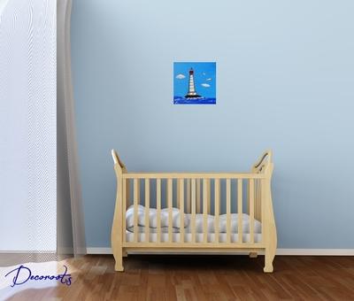 tableau-enfant-bebe-le-phare-theme-mer-marine-plage-rouge-bleu-garcon-decoration-chambre
